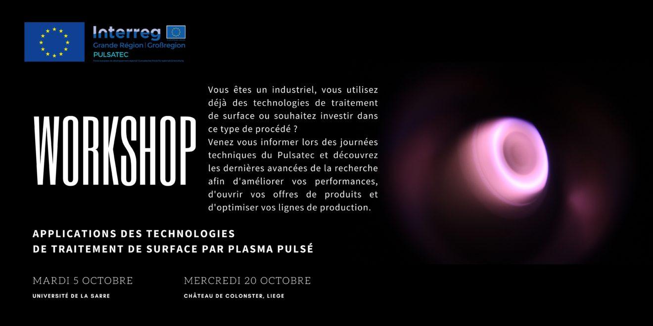 Workshop Applications des technologies de traitement de surface par plasma pulsé